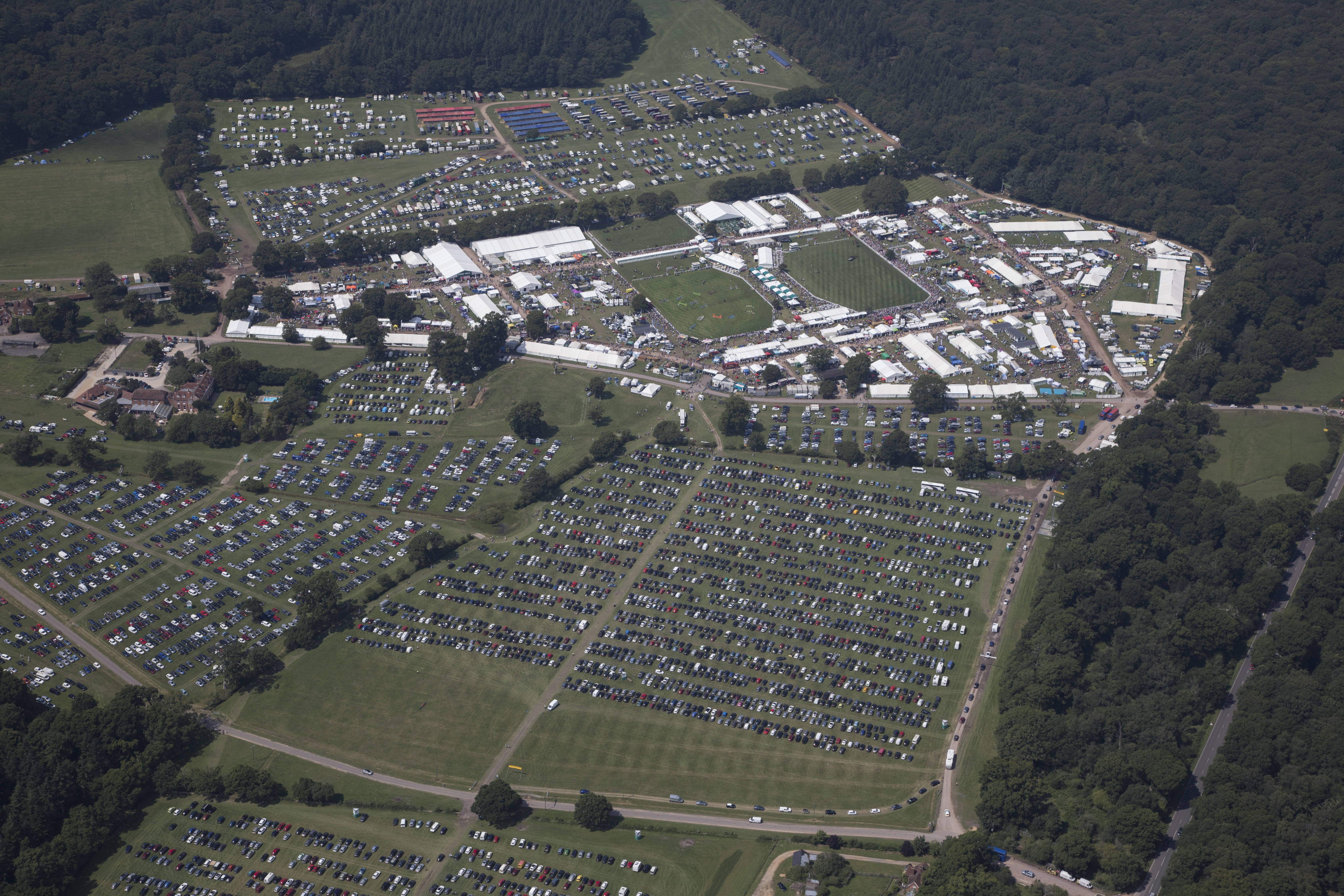 aerial image of the New Forest and Hampshire County Show, buy tickets